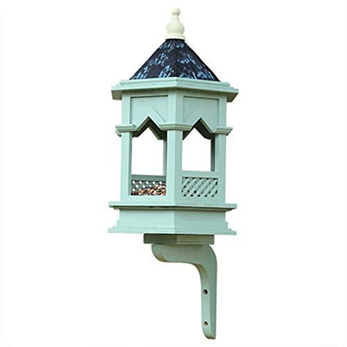 Houten vogelhuisje voor vogels, vrijstaande decoratie, groot vogelvoederhuisje voor vogels, traditioneel, voor terras, buiten, weerbestendig design voor vogels
