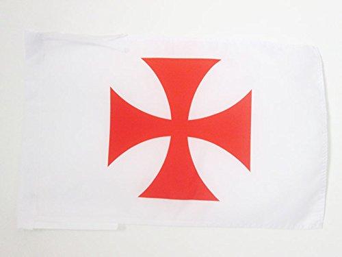 AZ FLAG Drapeau Templiers Ordre du Temple 45x30cm - PAVILLON Croix pattee Rouge 30 x 45 cm Haute qualité
