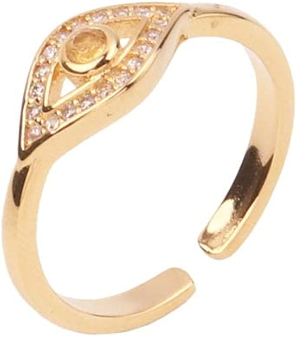 For Brands & Boutique, 1pcs Dainty USA Grade Gold Filled Round Topaz Evil Eye Micro Paved Adjustable Ring, Natural Gemstones Wholesale