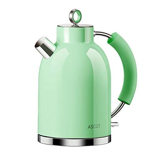 ASCOT Hervidor de agua electrico de acero inoxidable, 1,6 litros, sin BPA, inalambrico con 2200 W, apagado automatico, diseno retro, pequeno hervidor de agua de viaje, compacto, color verde
