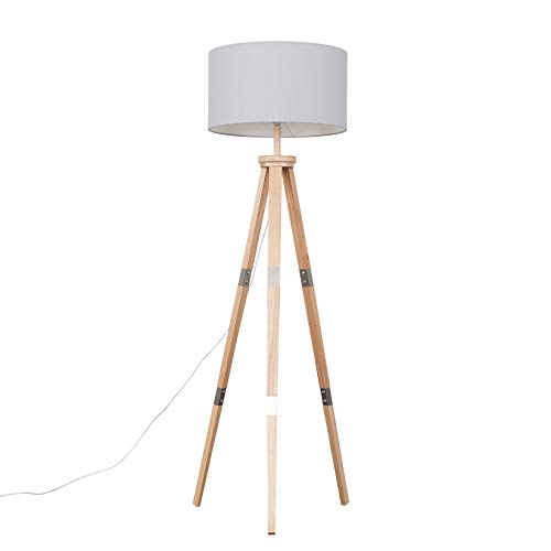 Large Modern Light Wood & Metal Tripod Design Floor Lamp with a Grey Cylinder Shade