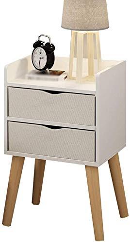 Nachttisch mit 2 Schubladen, Massivholz, Beine für Schlafzimmer, einfache Aufbewahrung, 32 x 30 x 57 cm, Beistelltisch (Farbe: A)