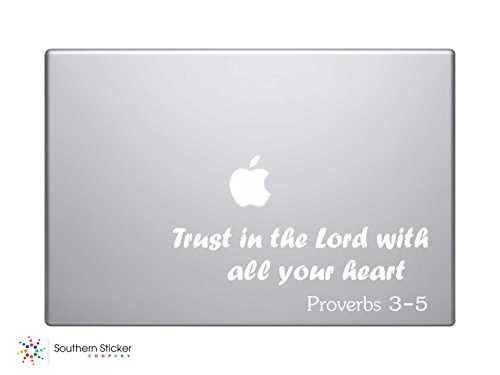 Trust in the Lord with All Your Heart Proverbs 3-5 Bible Verse Vinyl Car Sticker Symbol Silhouette Keypad Track Pad Decal Laptop Skin Ipad Macbook Window Truck Motorcycle