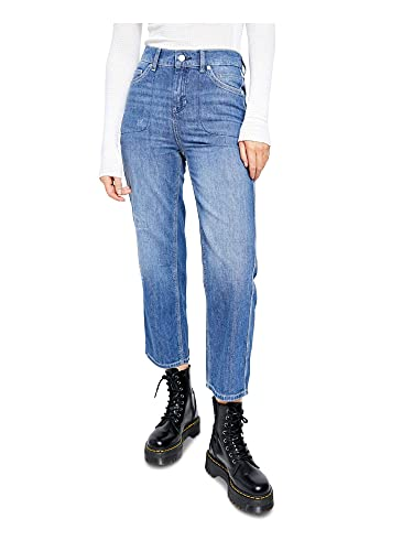 Free People Womens Chloe Baby Denim Cropped Straight Leg Jeans, Blue, Medium
