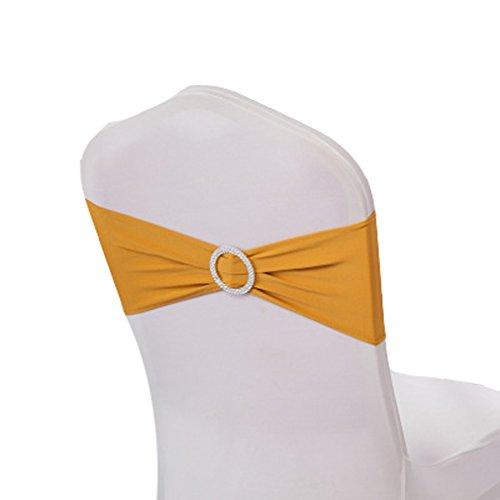 Teerfu Stretch-Stuhl-Bezüge, Hussen, Hochzeitsdekoration, elastische Stuhl-Schärpen / -Schleifen, Stuhl-Bänder mit Schnallen, 50 Stück gold