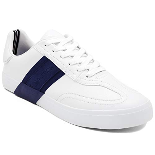 Nautica Men's Townsend Casual Lace-Up Shoe,Classic Low Top Loafer, Fashion Sneaker-White/Navy-9