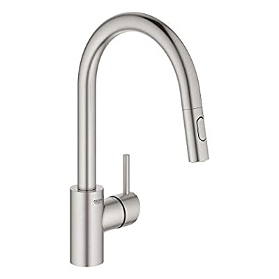 GROHE 32665DC3 Concetto Dual Spray Pull-Down Kitchen Faucet, SuperSteel Infinity Finish
