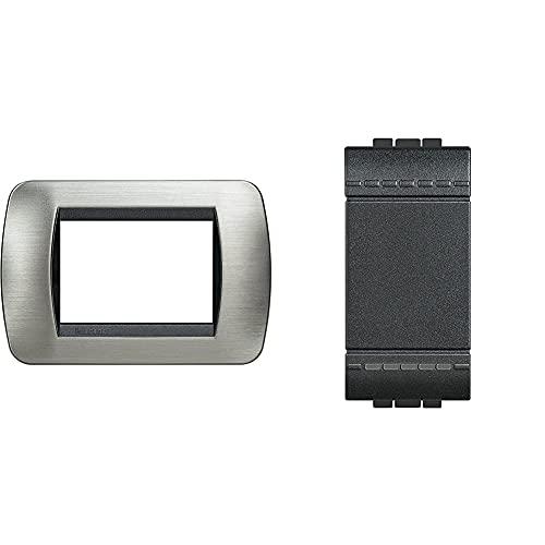 Bticino L4803Acs Placca Di Finitura 3 Moduli, Grigio / Nero (Acciaio / Antracite) & Pulsante 10A Living Light L4005N