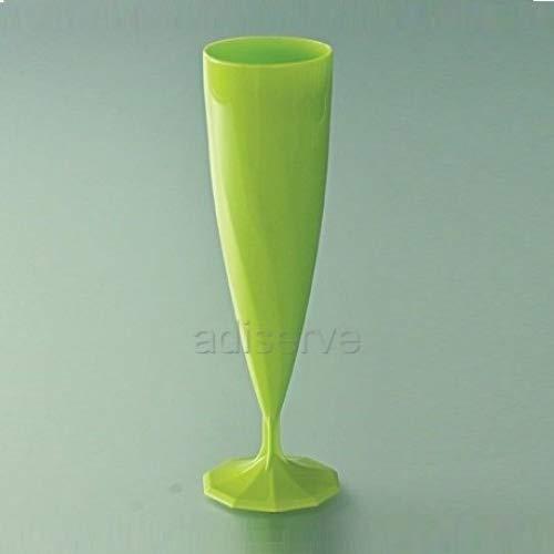 10 flûtes à champagne mariage plastique vert anis nacré - Adiserve -réutilisables