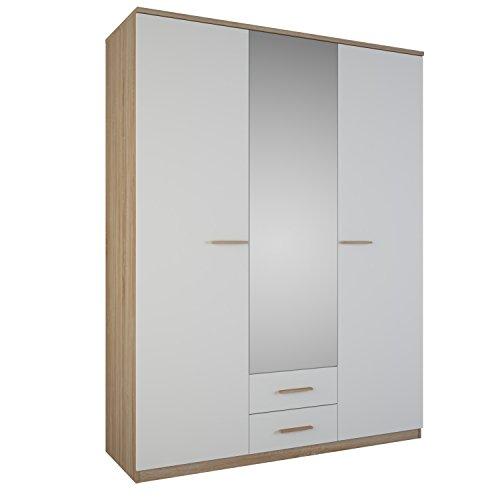Demeyere Selena Schrank 3-Türig, 2 Schubladen, Spigel, Spanplatte, Sonoma Eiche/weiß, 161.1 x 55 x 210.9 cm