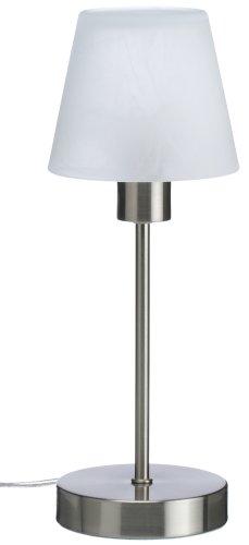 TRIO, Lampe de table, Luis 1xE14, max.40,0 W Verre mat, Blanc balayé, Corps: metal, Nickel mat Ø:12,0cm, H:32,0cm IP20,Interrupteur tactile 4 niveaux