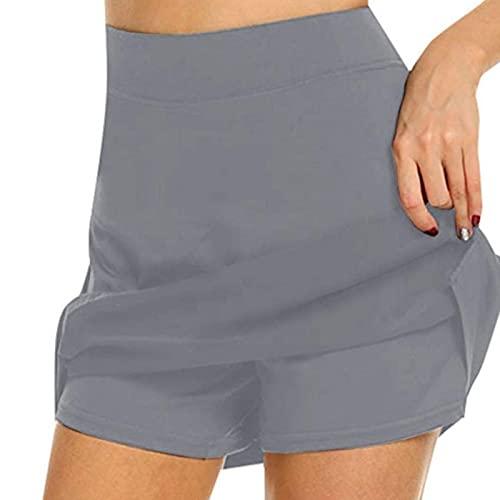 UKKO Falda De Tenis para Mujer Falda Señoras De Gran Tamaño Cintura Alta Delgado Adelgazamiento Falda Corta A-Line Shorts Tenis Deportes Corta Falda Mujer