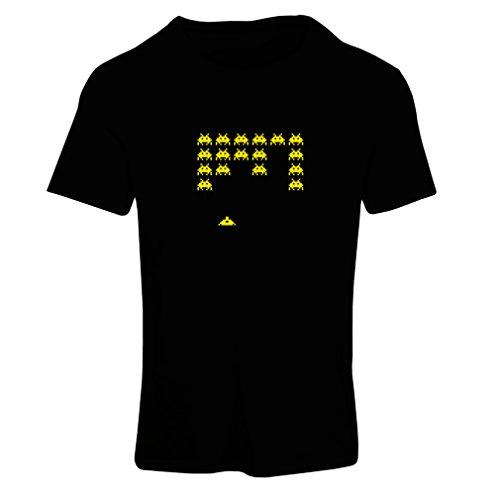 lepni.me T-Shirt Femme Vieux Joueur d'école, Chemise de Jeux vidéo pour l'amant de Jeu (Small Noir Jaune)