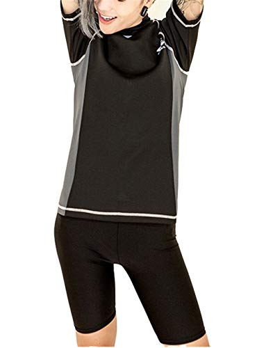 Super Flat Lesbian Tomboy Compression Zip Chest Binder Swimsuit Shirt Trunk Cap (Large) Black