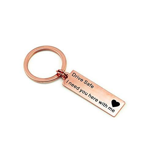display0 Stainless Steel Key Ring Drive Safe Letter Engraving Keychain Car Key Holder Bag Pendant Gift Rose Gold