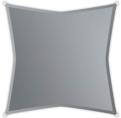Windhager SunSail Riviera, Sonnensegel, Sonnenschutz, UV-Schutz, witterungsbeständig, wasserabweisend, Quadrat 3,6 x 3,6 m, 10891, silbergrau, 3,6 m