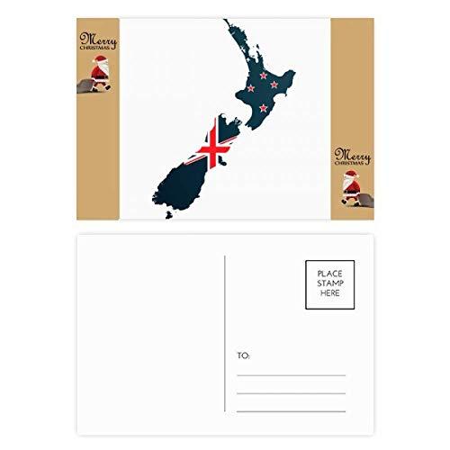 The Flag Island Country Map Nieuw-Zeeland Kerstman Gift Ansichtkaart Thanks Card Mailing 20 stks