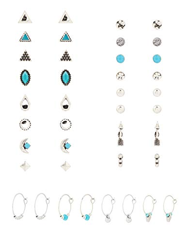Accessorize Ethnic Turquoise Stud and Hoop Earring Multipack