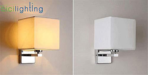 Moderne wandlamp nachtlamp slaapkamer hotel trappen roestvrij staal zwart stof wit scherm @ white_E27 lamp zuiver wit