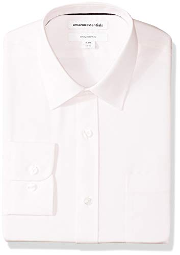 "Amazon Essentials Men's Slim-Fit Wrinkle-Resistant Long-Sleeve Dress Shirt, Light Pink, 17.5"" Neck 32""-33"" Sleeve"