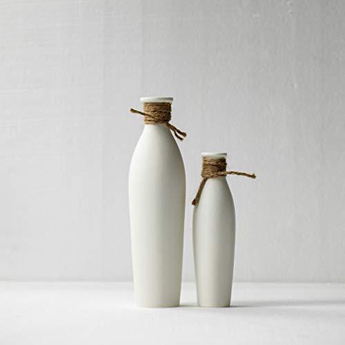Kimisty Ceramic Vase 2 Pack, White Modern Vase, Ceramic Modern Decor, Fire Mantle, Fire Place Decoration, Rustic Modern Flower Vase, RATA