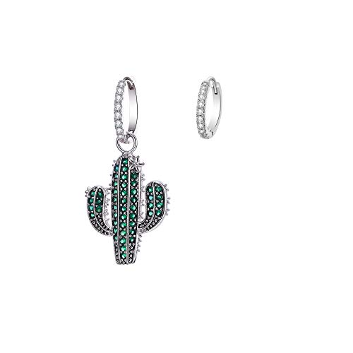Cactus earrings for women, hypoallergenic asymmetric earrings green cubic zirconia crystal pendant, suitable for girls birthday wedding
