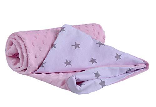 Medi Partners Manta para Gatear 100% algodón, 75 x 100 cm, Doble Cara, Multifuncional, Minky Manta para Cochecito de bebé, Suave y esponjosa (Estrellas Grises con Rosa Minky)