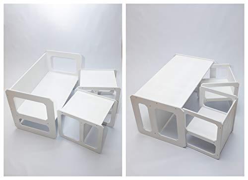 Sweet Home de madera juego de mesa para niños | Juego de mesa para niños | Mesa de aprendizaje preescolar | Mesa de destete | Mesa de juego para niños (blanco)
