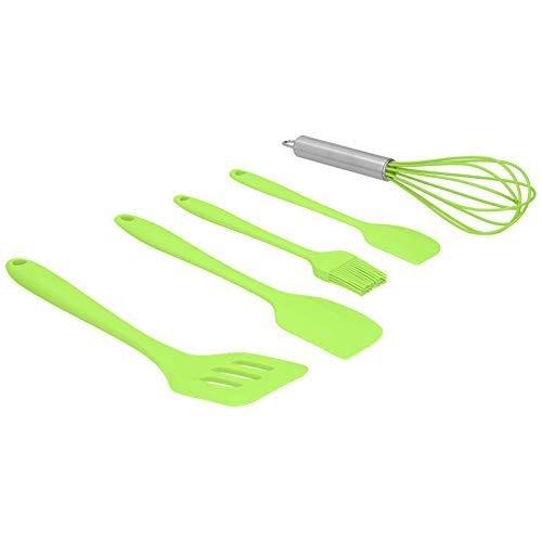 CUEA Espátula de Cocina, utensilio de Cocina de Silicona, batidor de Huevos, Antiadherente, Resistente a la Suciedad, fácil de Limpiar para cocinar,(Green Five-Piece Suit)