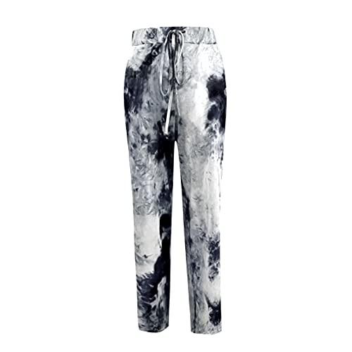 Pantalones de mujer con corbata para yoga informales pantalones chándal color ceniza ancho banda elástica holgados cordón bolsillos cintura alta deporte