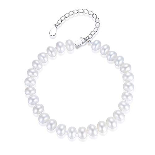 Kim Johanson Damen Perlenarmband *Melody* in Silber mit echten Weißen Süßwasser Perlen Armband rhodiniert inkl. Schmuckbeutel