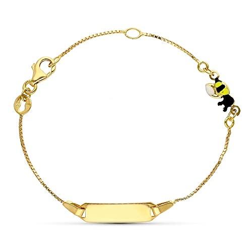 Esclava pulsera oro 18k niño 16 cm. forzada detalle abeja esmaltada mosquetón chapa lisa
