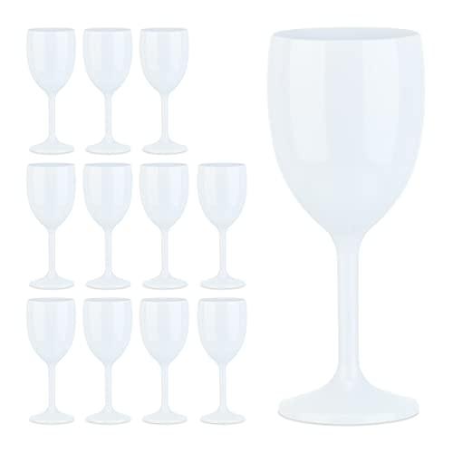 Relaxdays Juego de 12 Copas de Vino, irrompibles, sin BPA, Reutilizables, cóctel para Camping, Vasos de plástico, Color Blanco, 12er Set