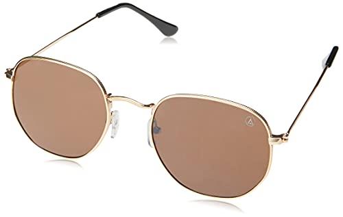Óculos de Sol Cygnes, Les Bains, Hexagonal, Unissex, Ouro, Único