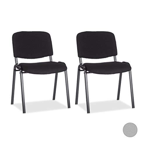 Relaxdays 10022880_46 Set di 2 Sedie Impilabili per Ospiti Poltrona Imbottita per Sala Conferenze HxLxP: 74 x 54 x 49 cm Nero