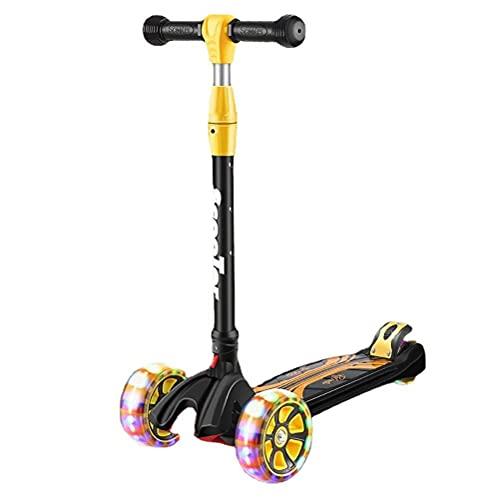 Gwteop Patinete plegable para niños a partir de 3 – 12 años, con ruedas LED, hasta 3 ruedas para niños y niñas