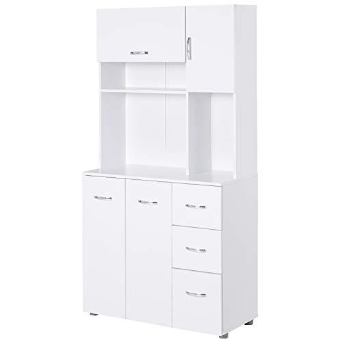 HOMCOM Küchenschrank Standschrank Hochschrank Würfelregal mit 4 Türschränke, 1 verstellbares Regal und 3 ausziehbare Schubladen,Weiß, P2 Holzwerkstoff, 89 x 39,5 x 168 cm