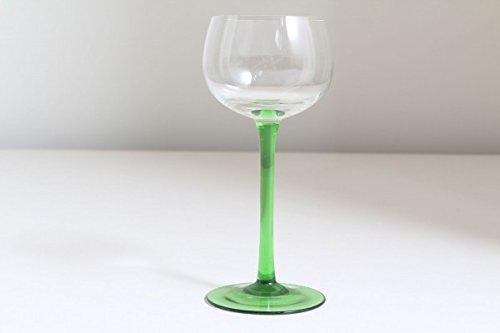 vintage13.de Schlichtes Weinglas Weinkelch Grün Weiß Jugendstil mundgeblasen Abriß Edel Antik