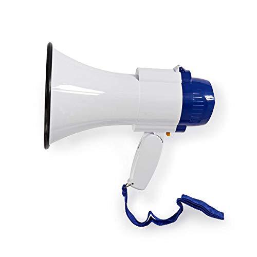 NEDIS Megafono - 10 W - Portata da 250 m - Microfono Integrato - Sirena Integrata - Volume Regolabile - Bianco/Blu Blu/Bianco