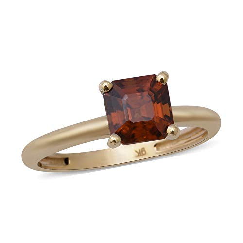 9ct Yellow Gold Sunset Zircon Asscher Cut Solitaire Ring for Women Size P, 2.75 Ct.
