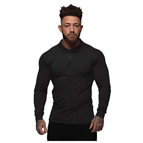 Yowablo Tee-Shirts Tee Shirt T Shirt T-Shirt Haut Manche Longue Tshirt T Shirts Polo Hommes Mode Sport Bouton Stretch T-Shirt Serré Stretch Chemise À Manches Longues (XL,Noir)