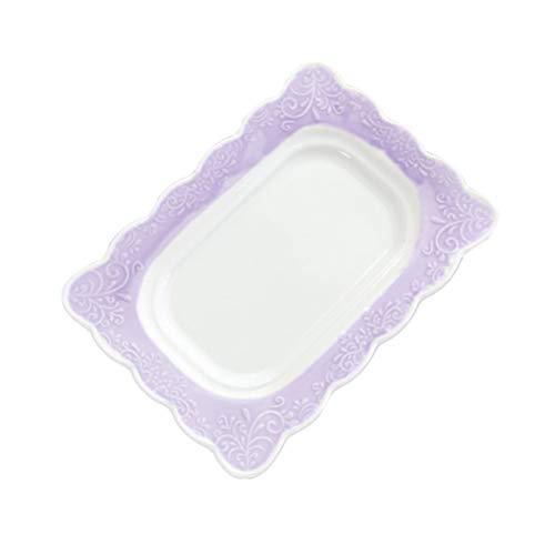BESTonZON Beurrier en Céramique avec Couvercle Beurrier Recouvert de Porcelaine Beurre Gardien en Céramique Violet