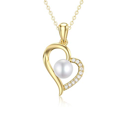SISGEM 9 ct Gold Pearl Necklace, Solid Gold Heart Pendant Necklace with Freashwater Cultured Pearl, for Women Ladies Mum Girl, 16+1+1inch