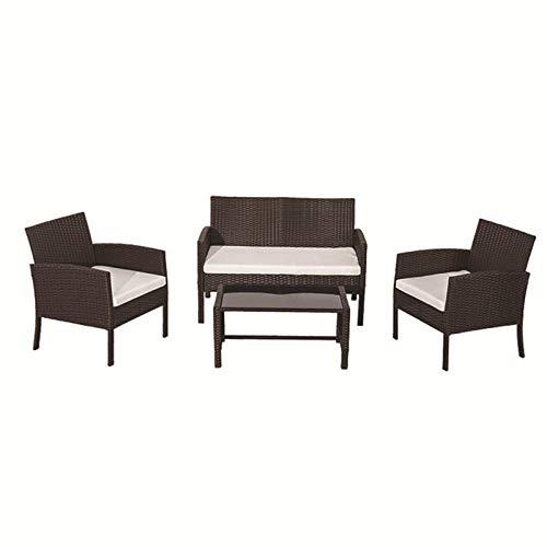 DNNAL Conjuntos de Muebles de Porche del Patio, 4 Piezas de mesas de ratán al Aire Libre y sillas Patio Combinado al Aire Libre Ocio Asiento terraza Conjunto sofá