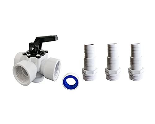 PoolSun 3-Wege-Ventil Pool Adapter für Wärmepumpe Schlauchanschluss 32/38mm