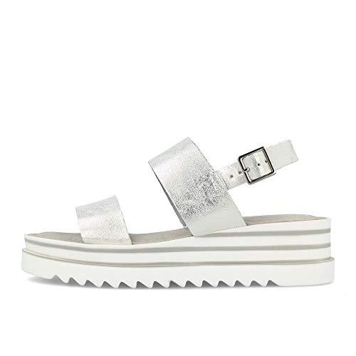 Tamaris Damen Plateau Sandalen Silber, Schuhgröße:EUR 40