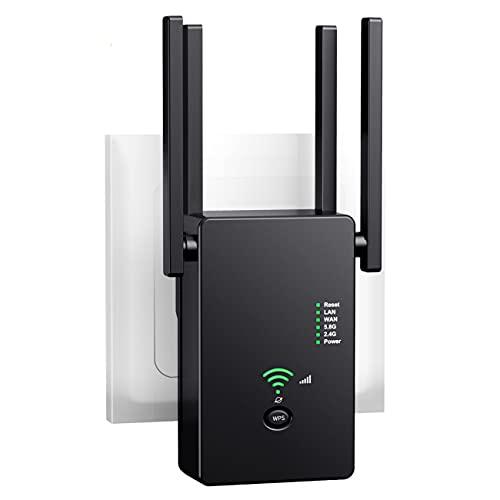 Dr.Lefran Extensor de Rango de Refuerzo WiFi, Repetidor Extensor inalámbrico de 1200 Mbps, amplía WiFi de Banda Dual de 5 GHz / 2,4 GHz, Amplificador/Punto de Acceso Wi-Fi con Puerto Ethernet