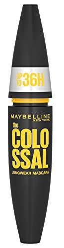 Maybelline New York Wasserfeste Mascara für Volumen, Langanhaltende, schwarze Wimperntusche, The Colossal 36H, Nr. 1 Very Black, 1 x 10 ml