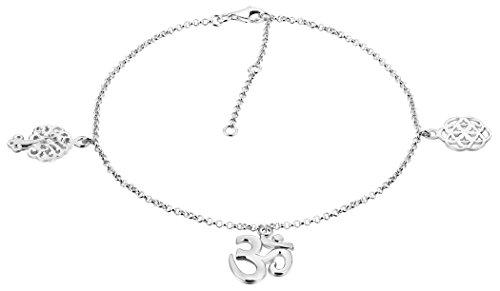 Nenalina, 381012-000, cavigliera con 3ciondoli, in argento sterling 925,lunghezza regolabile 23-27cm