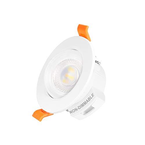 Mini Lampara Plafon Foco Downlight LED Empotrable de Techo Orientable 5W Luz Calida y Fria Ajustable Ángulo de Luz 38° No Regulable Agujero de Techo Diámetro 65-80MM Lot de 1 de Enuotek